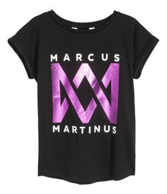 Jerseyshirt mit Druck | Schwarz/Marcus & Martinus | KINDER | H&M DE
