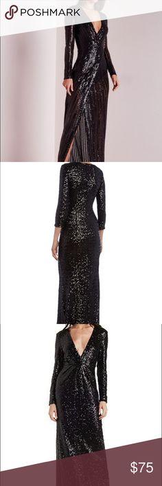 Sexy black sequin dress Long sleeve black sequin dress. Low cut with with slit Dresses Long Sleeve