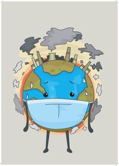 Mascot Illustration of the Earth Wearing a Surgical Mask to Cope with Air Pollution , Planet Drawing, Earth Drawings, Save Planet Earth, Save Our Earth, Save Environment Posters, Save Environment Poster Drawing, Global Warming Poster, Global Warming Drawing, Air Pollution Poster