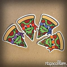 Teenage Mutant Ninja Pizza Sticker Pack by rapscalliondesign