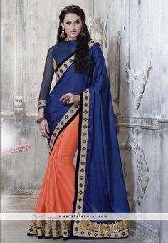 Blue Color Satin N Georgette Party Wear Saree-8826