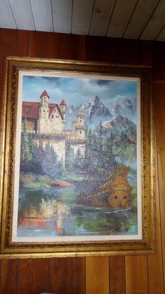 Great ship and castle painting by Patricia ? at Crown City Estate Sales in Verdugo City/ Montrose Ca. www.crowncityestatesales.com
