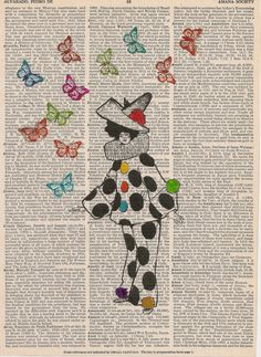 Book Print Clown lady with butterflies on Upcycle Book Page Print Art Print Dictionary Print Collage Print by SheriDictionaryPrint on Etsy