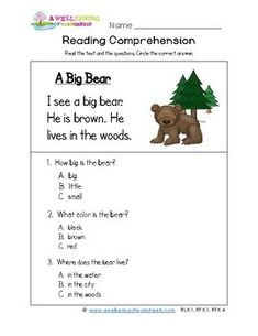 This big brown furry fella is the topic of conversation in this kindergarten reading comprehension worksheet. 3 multiple choice questions based on the text. Informations About Kindergarten Reading Com Reading Comprehension For Kids, Guided Reading Levels, Reading Passages, Kids Reading, Reading Skills, Writing Skills, Kindergarten Language Arts, Kindergarten Reading, English Lessons For Kids