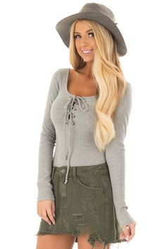 5798c20769703 Heather Grey Lace Up Body Suit with Ribbed Detail. Lime Lush Boutique ...
