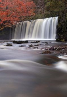 Beautiful Waterfall Photography in Long Exposure. Sgwd Ddwli in the Brecon Beacons national park, Powys, Wales. Landscape Photography, Nature Photography, Waterfalls Photography, Beautiful Places, Beautiful Pictures, Brecon Beacons, Les Cascades, Snowdonia, Beautiful Waterfalls