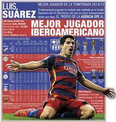 El uruguayo Luis Suárez recibe el Trofeo EFE al mejor jugador del 2015