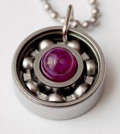 Roller Derby wheel bearing necklace.
