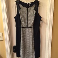 Elle NWT dress size 12 NWT two tone dress with zip back closure and lace detail around arms. Size12 tags attached no flaws Elle Dresses