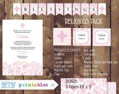 Religious celebration Kit, Baptism, Christening, First Communion, Confirmation DIY Editable - INSTANT DOWNLOAD 108