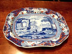 Roger D. Winter Spode platter at Antique & Design Show of Nantucket
