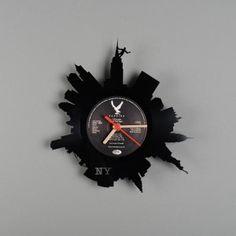 """New York"" Wall Clock. Buy online today at Bouf Vinyl Record Clock, Record Wall, Gramophone Record, Record Crafts, Clock Art, Wall Clocks, Old Vinyl Records, Vinyl Crafts, King Kong"