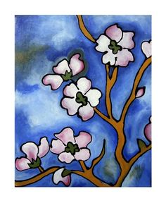 Blossoms with Blue Sky  8x10 matted print by JoelTraylorArtworks (Art & Collectibles, Prints, Giclee, giclee, open edition, cherry blossoms, blossoms, flowers, pink, blue, matted, frame ready, joel traylor, floral)