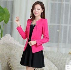 New Fashion Women Slim Blazer Coat Casual Jacket Sleeve One Button Suit