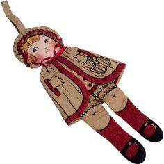 Adorable Cloth 1920s Flapper Doll Purse Felt Body Silk Face from dollsandsmalls on Ruby Lane