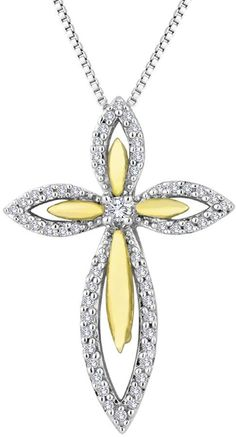 FINE JEWELRY 1/5 CT. T.W. Diamond 14K Gold Over Sterling Silver Cross Pendant Necklace