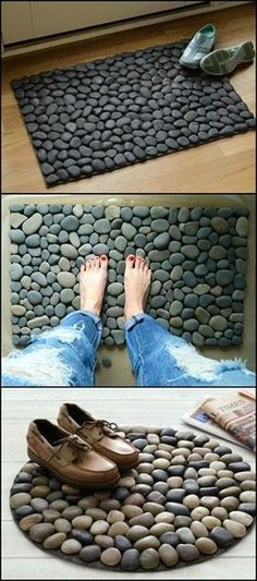What's great about this doormat is that water evaporates fast (depending on the materials that you use), preventing odor from building up. It's also easier to clean as opposed to fabric door mats — simply wash it usin Cool Doormats, Do It Yourself Design, Do It Yourself Ideas, Creation Deco, Diy Décoration, Pebble Art, Easy Diy Projects, Craft Projects, Projects To Try