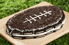 "From Nabisco: ""Prep for the Big Game properly and bring this OREO Football Refrigerator Cake out for your Big Game bash."""