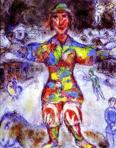 Le Clown Multicolore- Marc Chagall 1974 Place of Creation: Saint-paul-de-vence, Style: Naïve Art (Primitivism) Genre: portrait Marc Chagall, Artist Chagall, Chagall Paintings, Pablo Picasso, Matisse, Folklore Russe, Le Clown, Atelier D Art, Post Impressionism