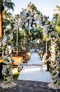 Dramatic Ceremony Entrance Arch    Photography: Jay Lawrence Goldman Photography   Read More:  http://www.insideweddings.com/weddings/rustic-vintage-outdoor-ceremony-tent-reception-in-palm-springs/692/