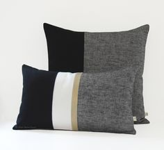 Black Chambray Pillow with Gold Stripe