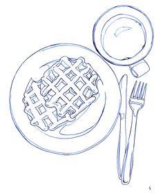 Contour line study of breakfast Menu Illustration, Food Illustrations, Watercolor Illustration, Watercolor Art, Bread Art, Pinterest Instagram, Food Sketch, Digital Art Tutorial, Food Drawing
