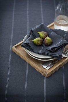 Italian stripe linen tablecloth in steel from £125 | Italian stripe napkins in steel £12 each.