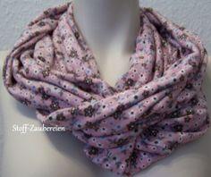 Leichter XXL Jersey Damen Schlauchschal Tuch Loop Blumen Blüten Handmade