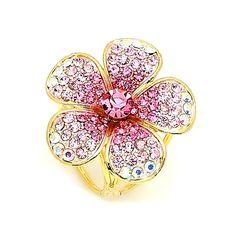 Prsteň na šatku - Ligotavý kvet - ružový