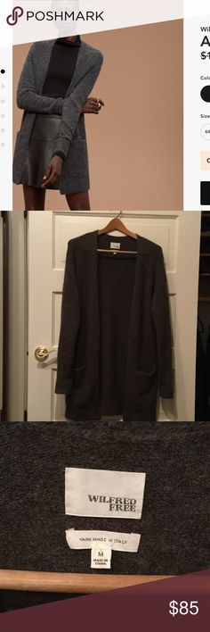 Aritzia Wilfred free Aronson sweater. Aritzia Wilfred free aronson sweater. Size medium. Dark brown gray color. Perfect condition, only worn once. No pilling or any signs of wear. First photo is for style reference, color is slightly more brown. Aritzia Sweaters Cardigans