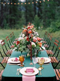 Farm Table and Bistro Lights for an Outdoor Summer Wedding wedding table Montana Mountain Wedding in Vibrant Summer Colors Wedding Themes, Wedding Colors, Wedding Venues, Wedding Ideas, Wedding Ceremony, Wedding Orange, Wedding Advice, Wedding Details, Wedding Stuff