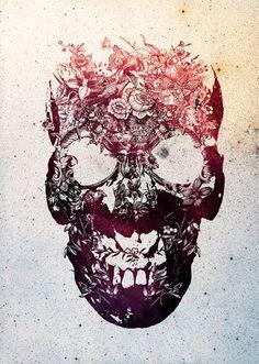 Floral Skull by Ali Gulec http://www.skullspiration.com/floral-skull/