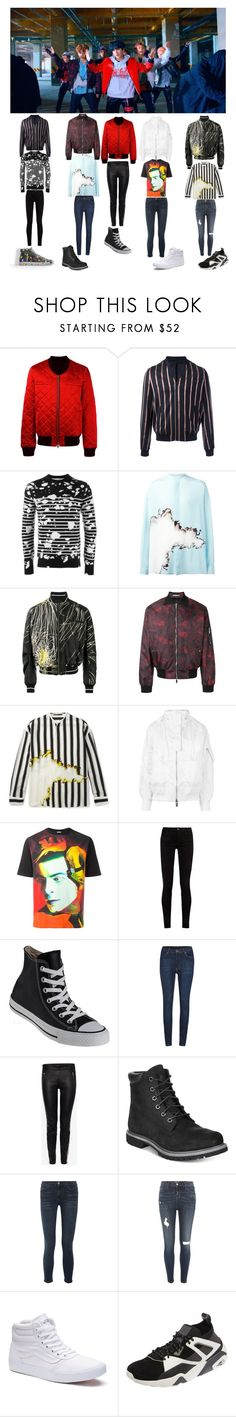 """""""BTS 'Not today' mv Outfits."""" by bringmethebulletprooflasagne ❤ liked on Polyvore featuring Balmain, The Kooples, Dior Homme, Haider Ackermann, Sacai, Loewe, Gucci, Converse, Cheap Monday and Alexander McQueen"""