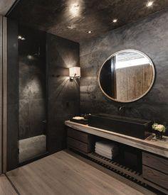 Stylish and bold black bathroom design with wood flooring and vanity ., Stylish and bold black bathroom design with wood flooring and vanity top. Dark Bathrooms, Amazing Bathrooms, Bathroom Black, Luxury Bathrooms, Master Bathrooms, Master Baths, Dream Bathrooms, Master Master, Marble Bathrooms