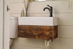 diy floating reclaimed wood vanity with IKEA sink - Girl Meets Carpenter featured on @Remodelaholic