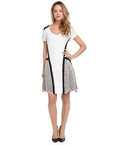 "W118 by Walter Baker ""Dana"" Ivory and Black Linen Blend Lace Dress"