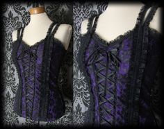 Gothic Black Purple WICKED WAYS Lace Up Corset Panel Top 8 10 Victorian Rock - £24.00