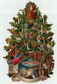 Christmas tree; victorian scrap; art image