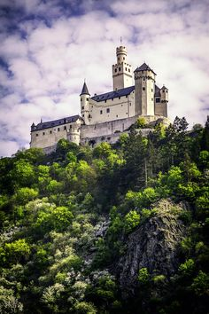 Marksburg castle ~ Rhineland Palatinate ~ Germany ~ Built 1117 ~ In the 1990s the castle was copied in the German culture village Ueno on the Japanese island Miyako-jima.