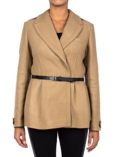 BURBERRY - Cappotto in lana doppio petto con cinturino in vita - Cammello  - Elsa-boutique.it #Burberry <3