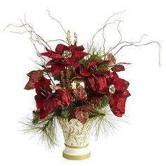Faux Poinsettia Swirl Arrangement