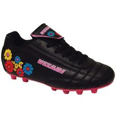 SALE - Kids Vizari Blossom Soccer Cleats Black Leather - Was $23.99 - SAVE $4.00. BUY Now - ONLY $19.99