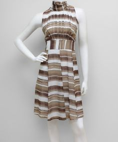 White & Slate Stripe Sleeveless Dress