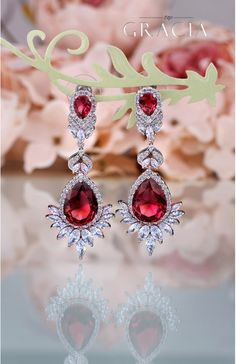 CHRYSEIS Ruby Red Teardrop Cubic Zirconia Bridal Earrings Wedding Jewelry by TopGracia    #topgraciawedding