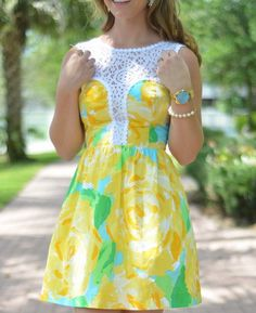 Lilly Pulitzer Raegan Fit & Flare Dress in Sunglow Yellow First Impression worn by @megannjayneee