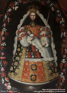 Our Lady of Candelaria of Tenerife / La Virgen de la Candelaria de Tenerife // // Anonymous // Museo Pedro de Osma Colonial Image, Colonial Art, Catholic Art, Religious Art, Pintura Colonial, Mexican Paintings, Peruvian Art, Vintage Holy Cards, Classic Paintings
