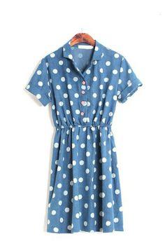 Washed Denim Short Sleeve Dress