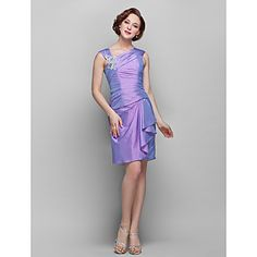 vaina / columna v-cuello hasta la rodilla tafetán madre del vestido de la novia (682759) – EUR € 82.16