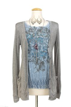 T2 March outfit: blue rose top, lace it up cardigan,