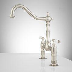 Kitchen:Douglass Bridge Kitchen Faucet   Porcelain Lever Handles   Kitchen Modern Kitchen Faucets Brushed Nickel Ultra Modern Kitchen Faucet...